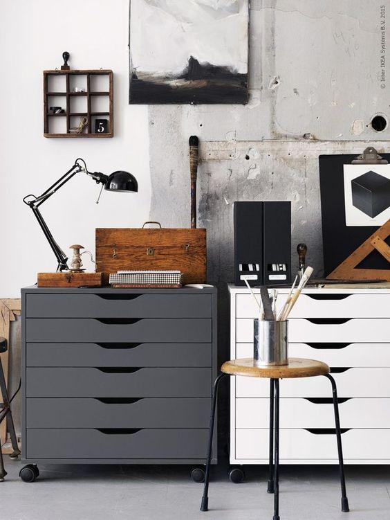 inspiration, arbetsrum, hemmakontor, ateljé, inredning, hurts, hurtsar, ikea, livet hemma, lampa, kontor, vitt, grått,