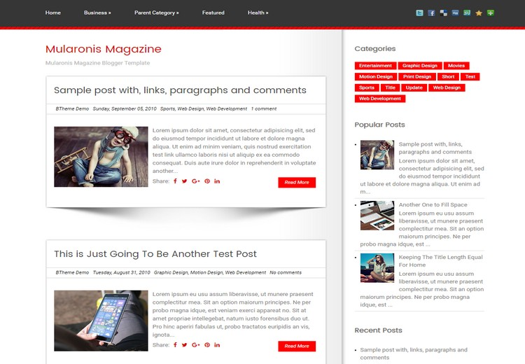 Mularonis Magazine Blogger Template with sample