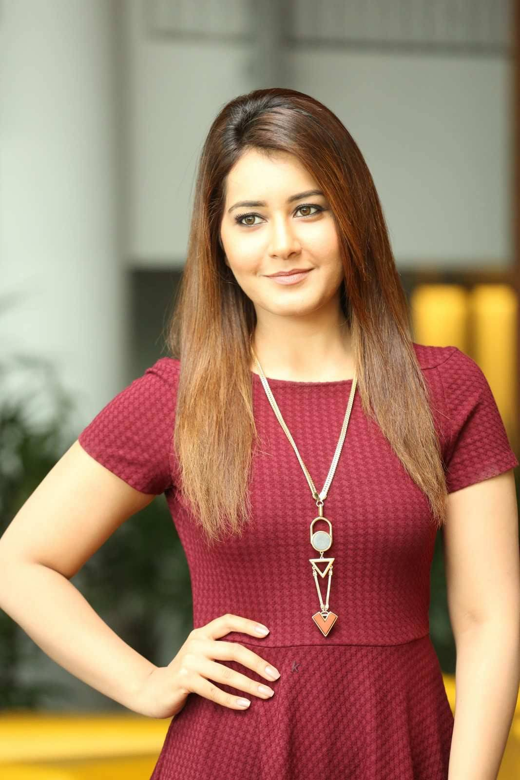 Rashi Khanna Latest Photos in Maroon Dress