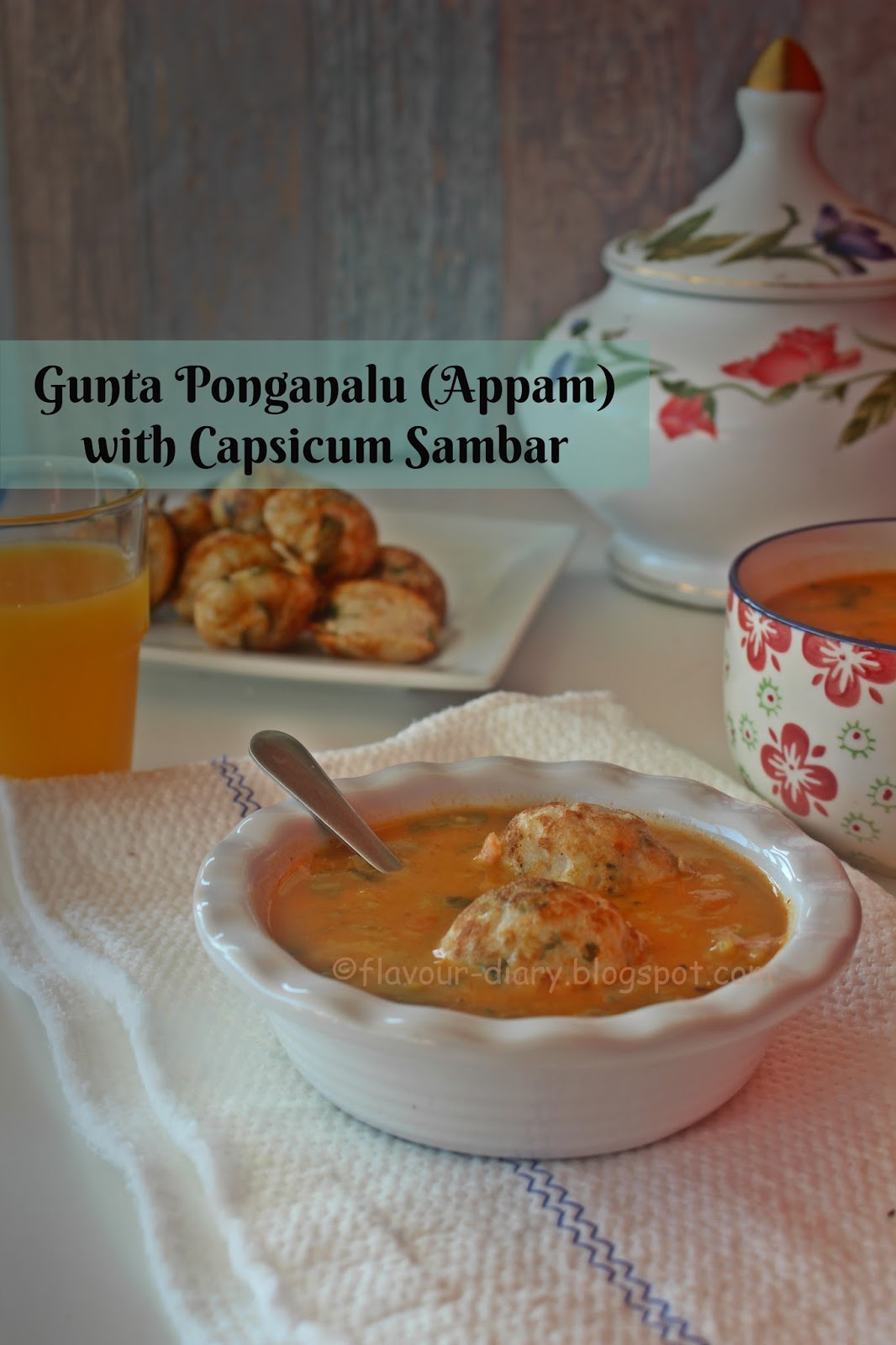 Gunta Ponganalu Appam with Capsicum Sambar Recipe
