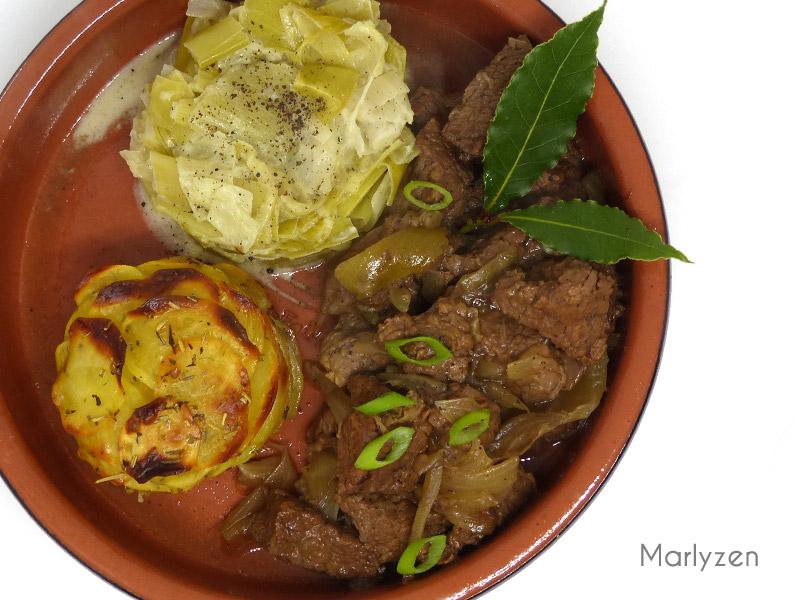 Carbonade flamande et mille-feuilles de pommes de terre