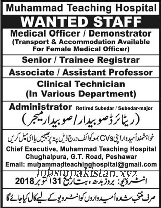 Advertisement for Muhammad Teaching Hospital Jobs 2018