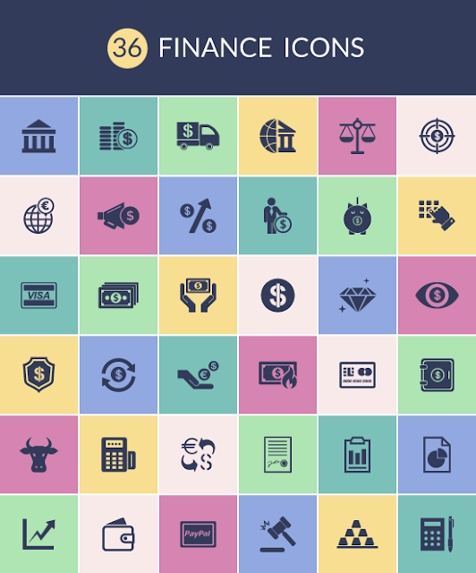 36 Finance Icons for Web & Mobile For Free Download: Freebies