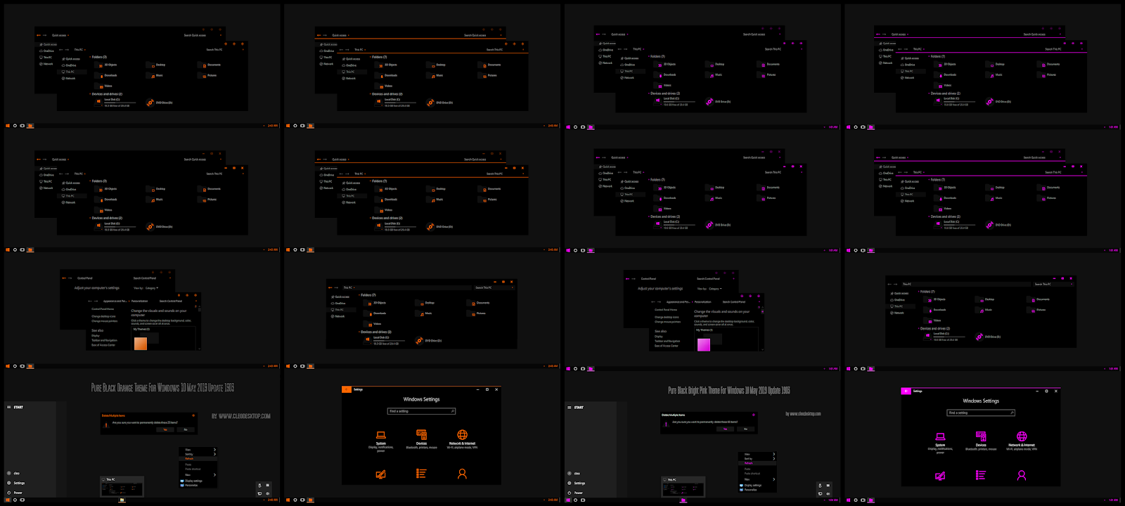 Pure Black Bright Pink and Orange Combo Pack Theme For Windows10 1903
