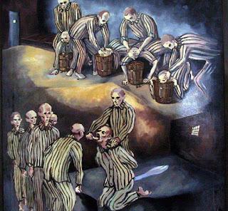 """""""REEDUCAREA"""". Desenul aparţine unui fost deţinut din Piteşti şi descrie grozăvia reeducării, prin care tinerii erau obligaţi să-şi îndese capul în găleţi cu dejecţii sau să suporte scoaterea pe viu a dinţilor"""