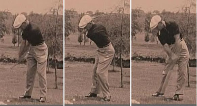 Ben Hogan golf swing sequence head still cigarette in mouth