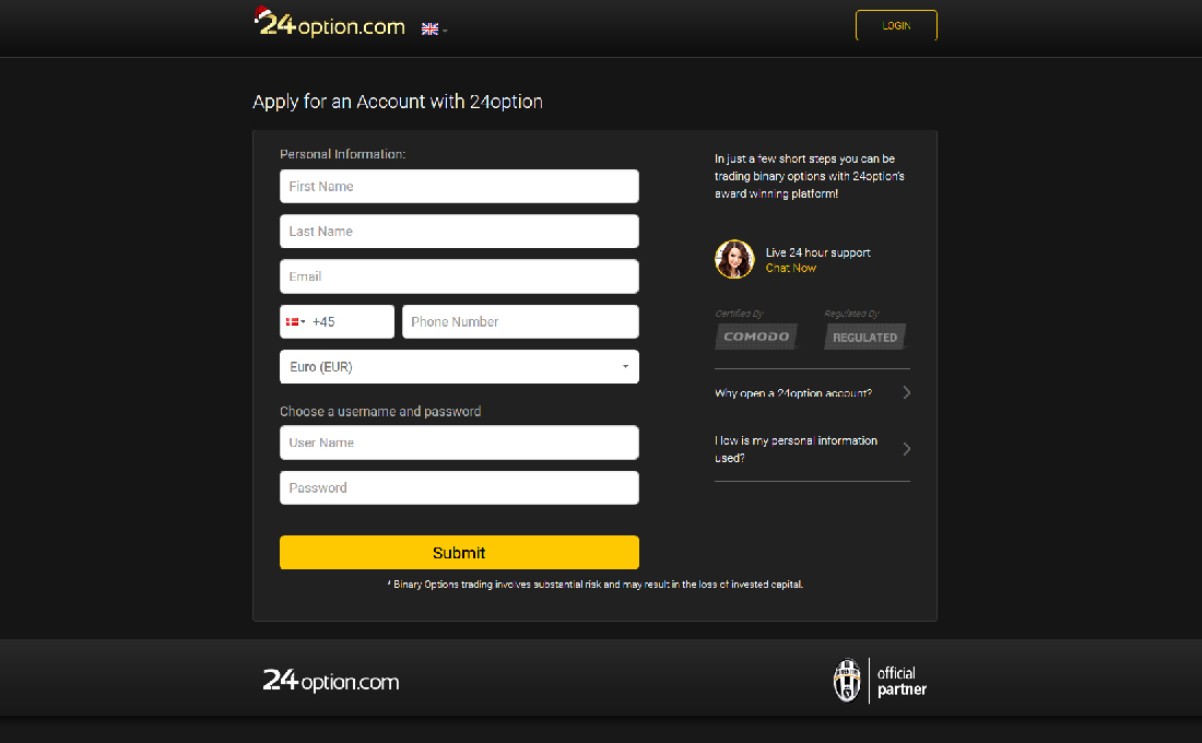 Open binary options account 250
