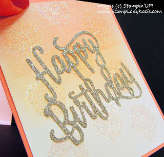 Card made with Stampinup's Happy Birthday Thinlit Dies and Balloon Bouquet Punch as a stencil for the glitter background  by StampLadyKatie
