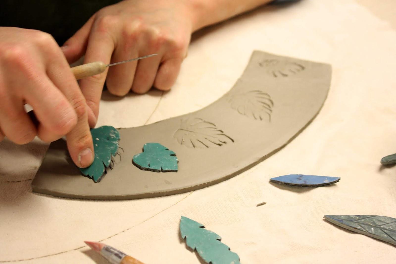 Handcrafted detail in Liz's ceramics studio