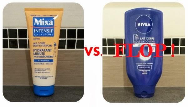 Battle MIXA NIVEA lait corps sous la douche top flop