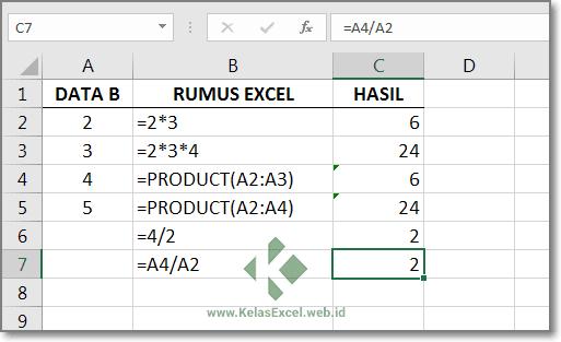 Rumus Perkalian dan Pembagian Excel