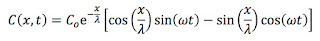 The solution to the diffusion equation when the concentration at the origin oscillates sinusoidally.