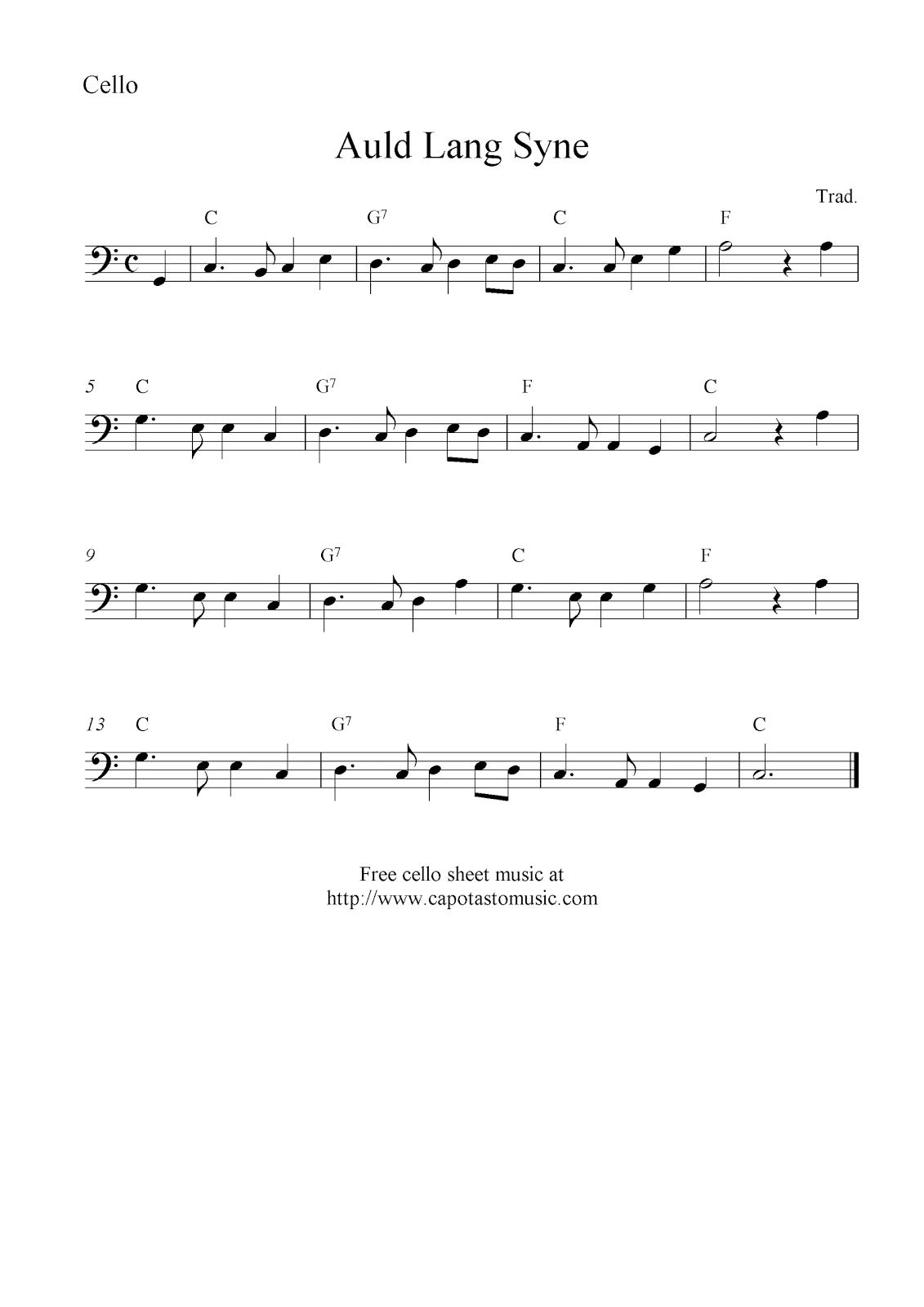 Auld Lang Syne Free Cello Sheet Music Notes
