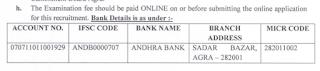 Agra Cantt Board Recruitment 2018- Junior Clerk (5) Post fee details