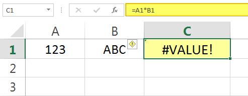 Pesan Error #VALUE pada Excel