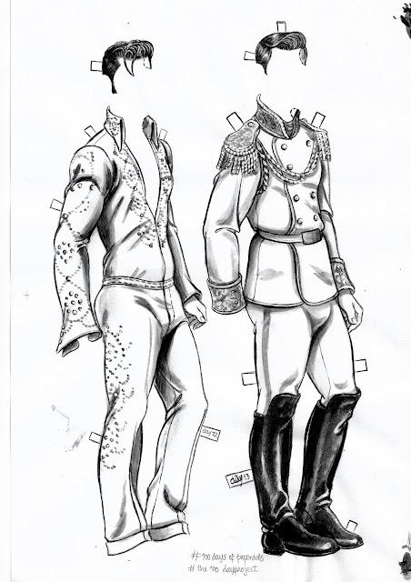 jumpsuit Elvis Presley prince charming outfits paper dolls