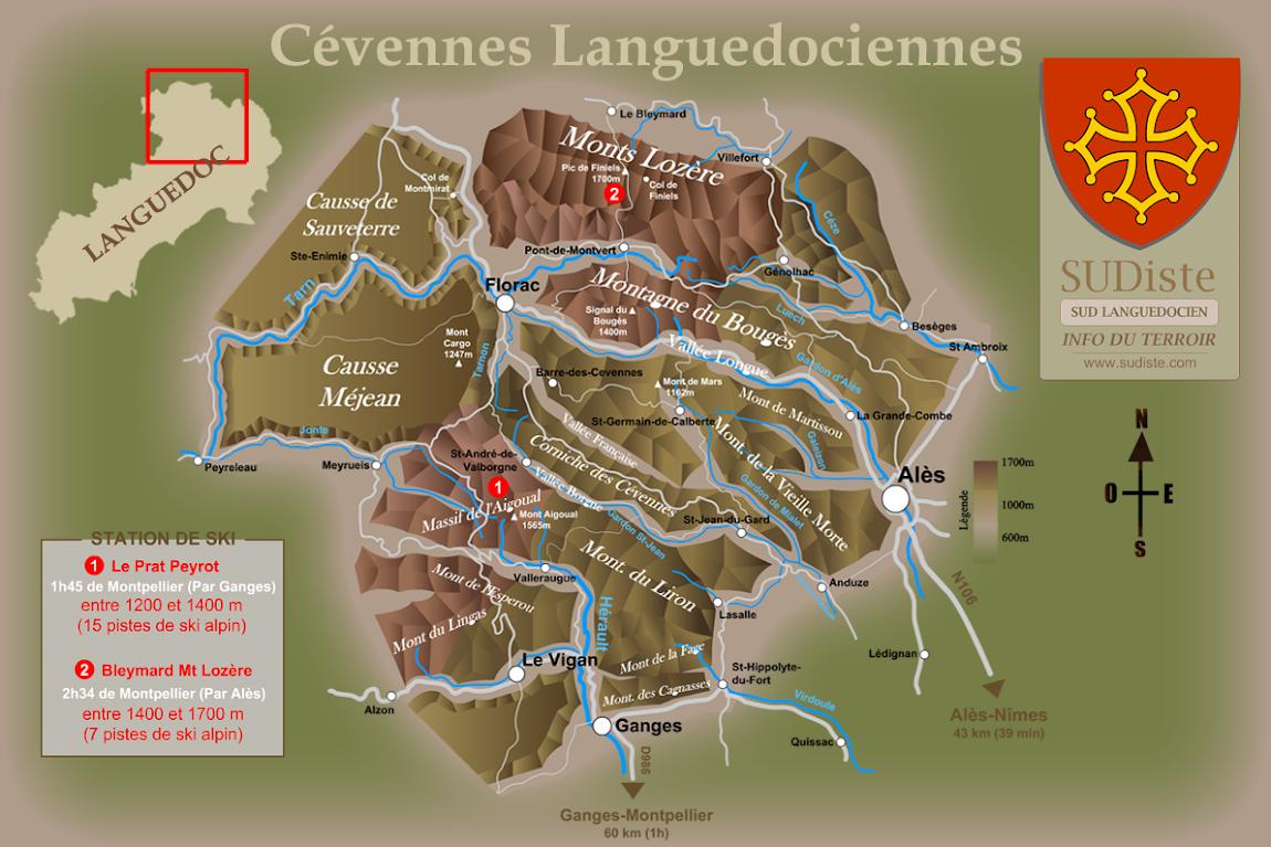 Carte des Cévennes