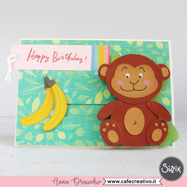 Monkey Slider Card - Biglietto di auguri interattivo