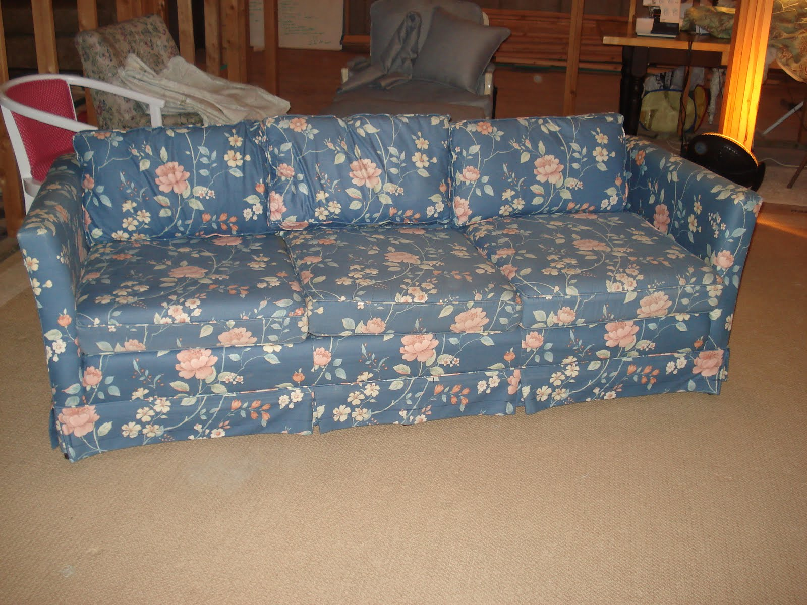 blue floral chair minnie mouse foam the sewing nerd slipcovers couch and tree chairs