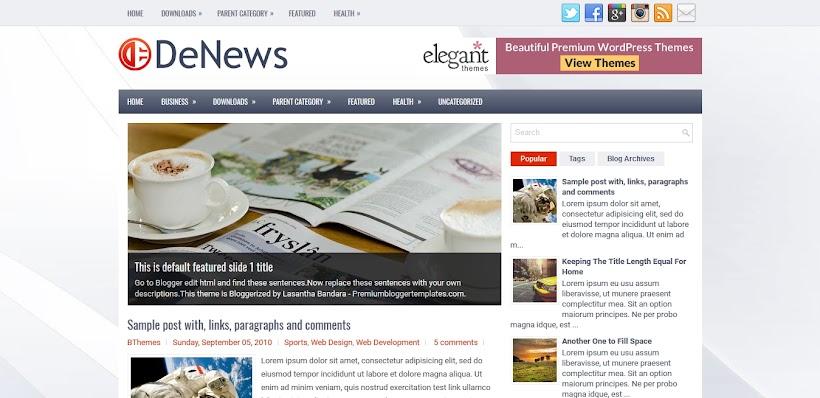 DeNews Free Blogger Template