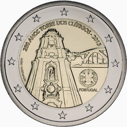 2 Euro Commemorative Coins Portugal 2013, 250th Anniversary of the Clérigos Tower, Porto
