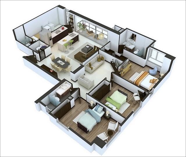 Planta de casa com 3 quartos e 3 banheiros