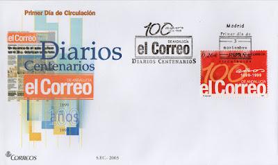 Sobre PDC del sello del 2003 dedicado al diario centenario el Correo de Andalucía