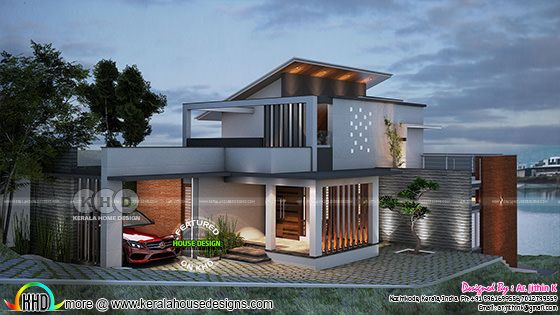 Awesome ₹35 lakhs cost contemporary house with its floor plan