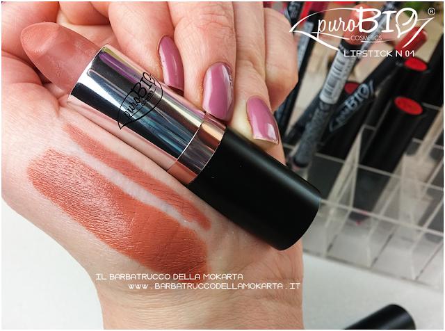 swatches lipstickn 02  matita n 35 rossetti purobio , lipstick, vegan makeup, bio makeup