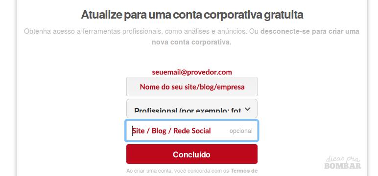 Criando conta corporativa/comercial no Pinterest.