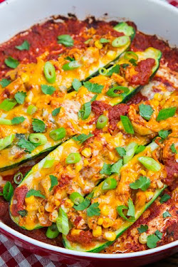 Chicken Enchilada Stuffed Zucchini