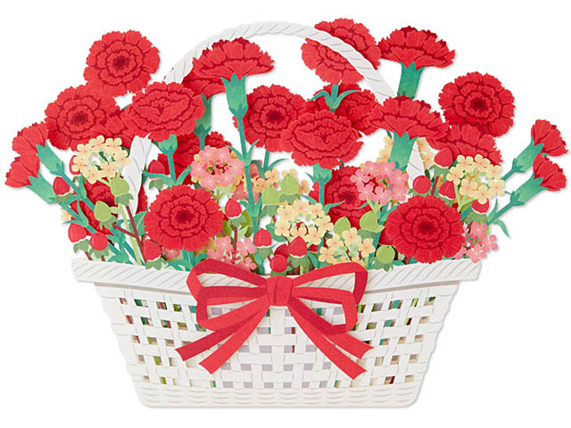 Laser Cut Carnations Blooming Basket Pop Up Decorative Greeting Card