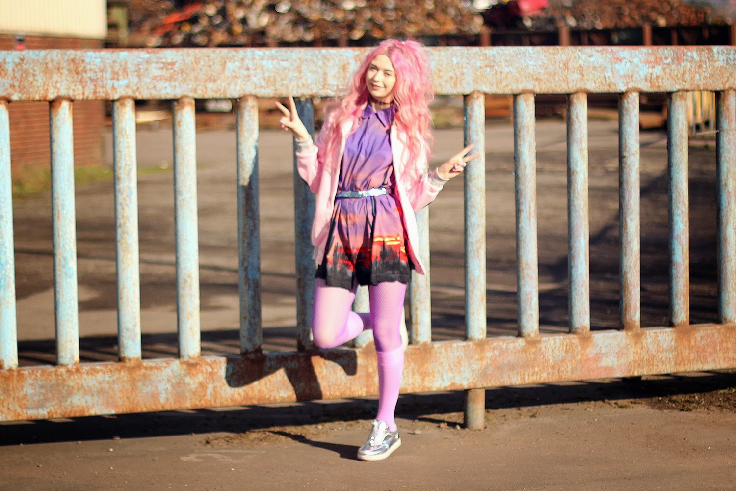 575582be2c2 PINK QUEEN OF HEARTS JACKET  PINK IN TOKYO PURPLE FISHNET TIGHTS  WE LOVE  COLORS PINK SOCKS  WE LOVE COLORS