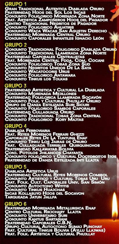 Rol de ingreso Carnaval de Oruro 2017 - Sábado de Peregrinación y Domingo de Carnaval