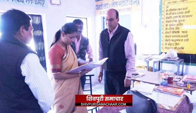नरवर के स्कूलों का निरीक्षण करने पहुंची कलेक्टर, शिक्षक मिले अनुपस्थिति, बच्चों को दी चॉकलेट | narwar News