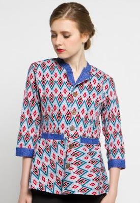 Model Baju Batik Atasan Kerja Wanita lengan panjang