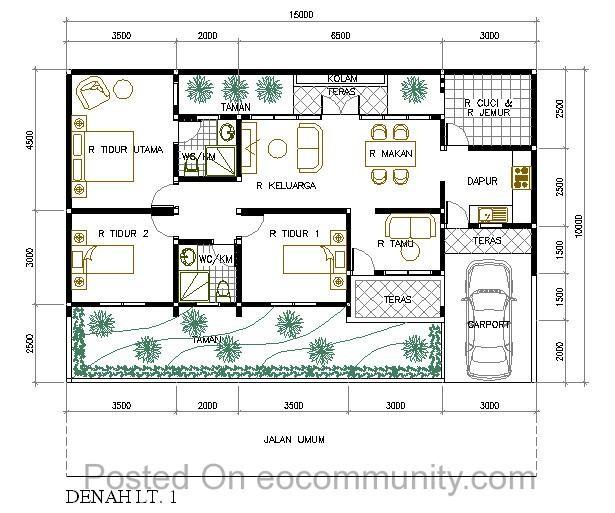Desain Denah Rumah Ukuran 7x12 Meter Kamar 3 Kreatif