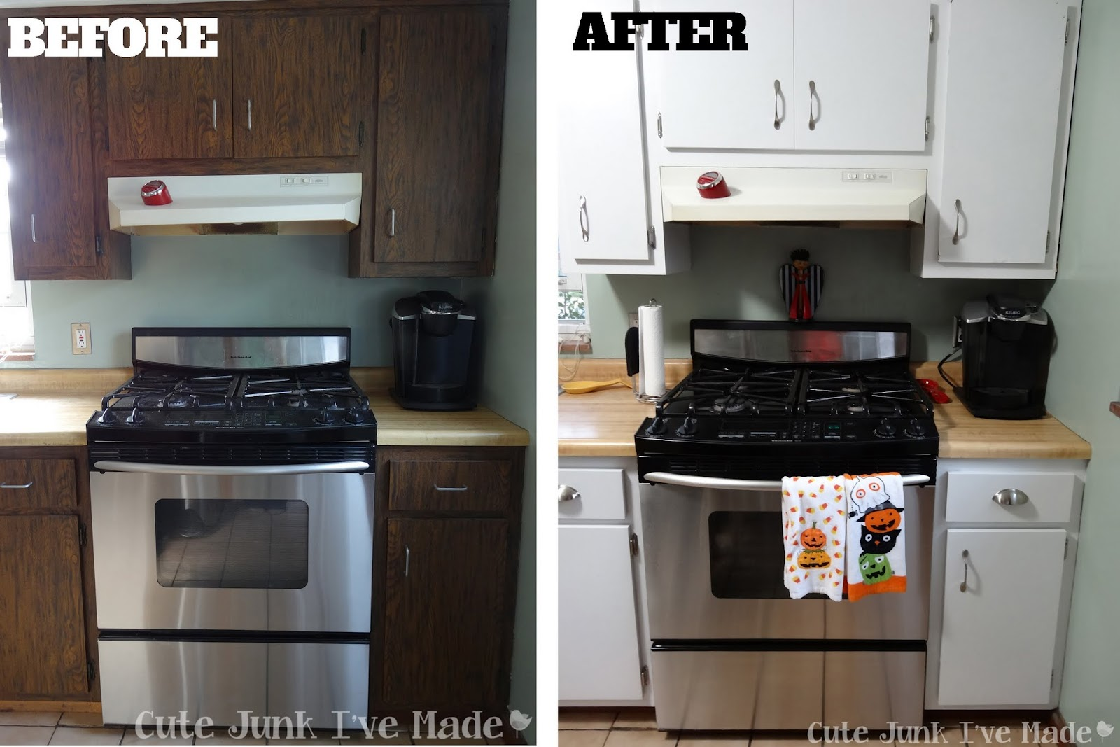 Paint Laminate Cabinets Before and After