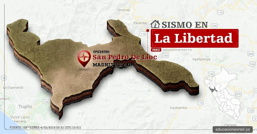 Temblor en La Libertad de Magnitud 4.0 (Hoy Lunes 4 Febrero 2019) Sismo Epicentro San Pedro De Lloc - Pacasmayo - IGP - www.igp.gob.pe