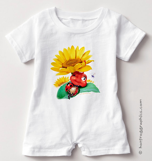 Baby romper suit with small ladybug sleeping on a sunflower
