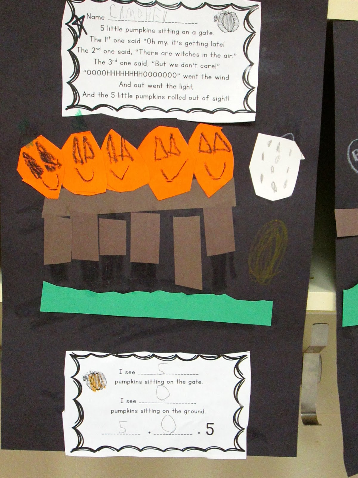 Five Little Pumpkins Sitting On A Gate Math Craft For Kindergarten