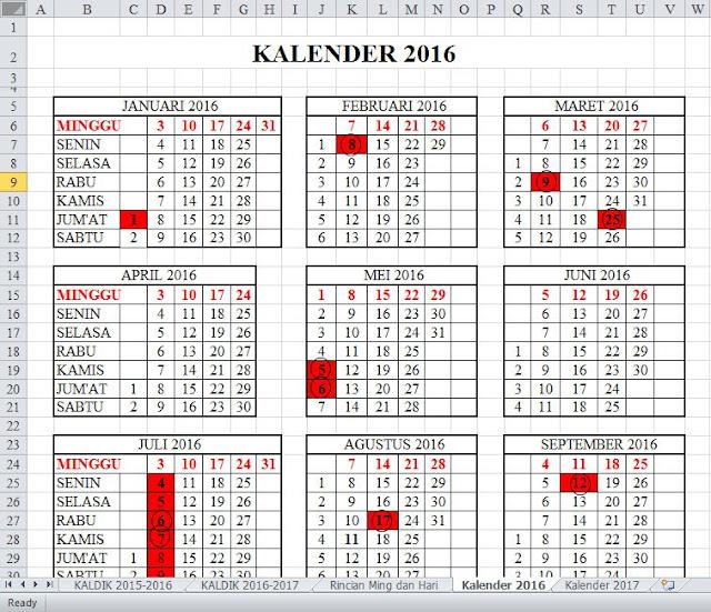 Kalender Pendidikan atau Kalender Akademik Tahun Ajar 2016 - 2017