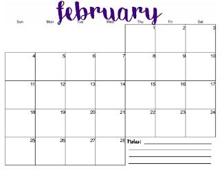 free printable 2018 monthly calendar