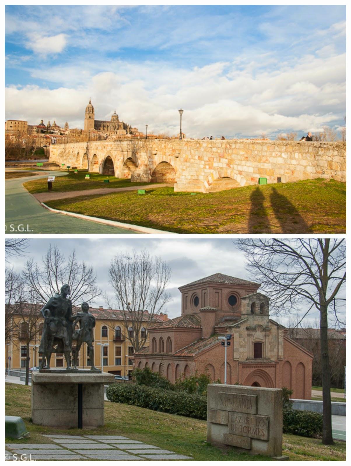 Puente romano de Salamanca y estatua del Lazarillo de Tormes