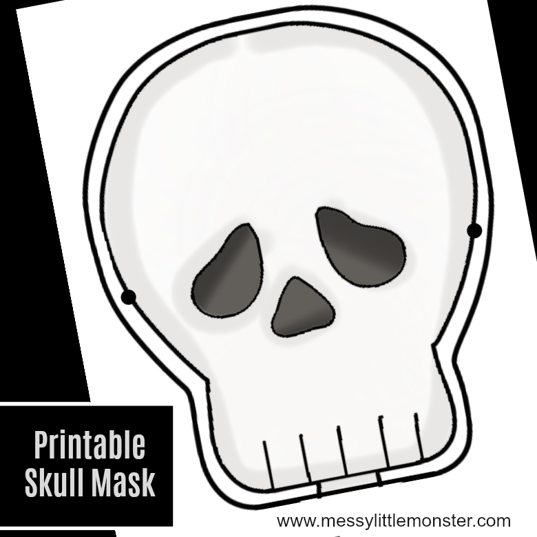 Printable skull mask - human skeleton activities for kids