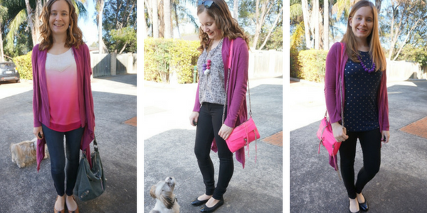 3 ways to wear a purple cardigan with pink | away from blue blog