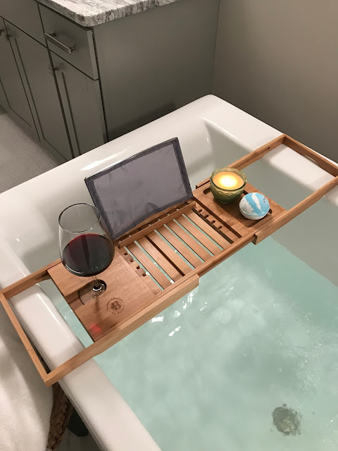 bamboo bath tray for wine glass