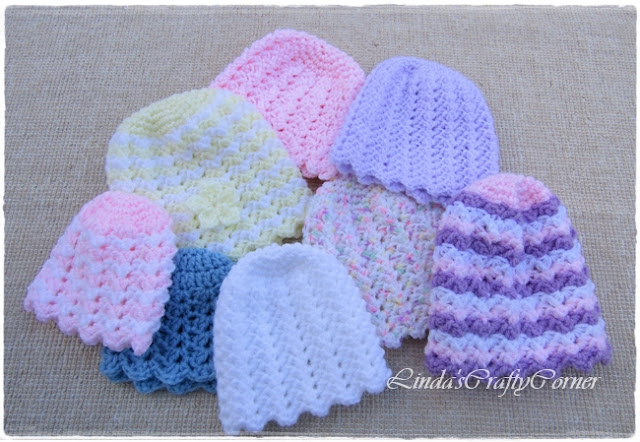 baby hats, crochet easy simple free pattern