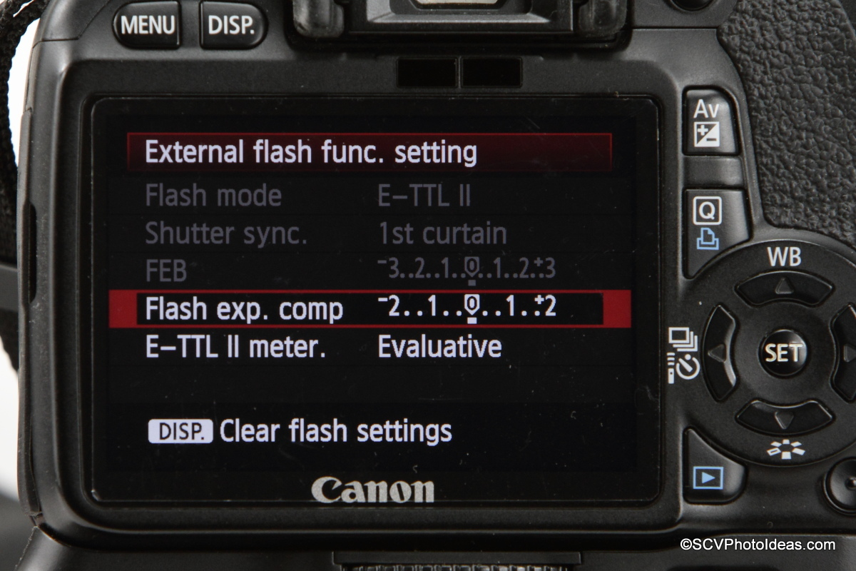 Canon Speedlite Transmitter ST-E2 on camera flash menu options