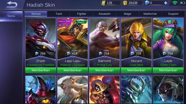 cara mengirim hero mobile legend